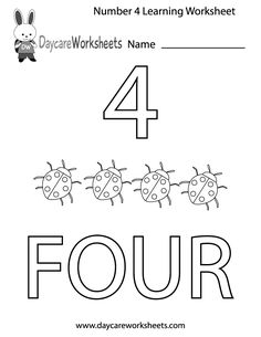 Number 4 worksheets for children's learning activity. Learning Numbers Preschool, Number Worksheets Kindergarten, Free Preschool, Worksheets For Kids, Preschool Printables, Preschool Kindergarten, 4 Year Old Activities, Kids Learning Activities, Preschool Activities