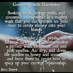 Conjuring with rain water - Money & love wash Wiccan Witch, Magick Spells, Wicca Witchcraft, Water Spells, Tarot, Water Witch, Sea Witch, Eclectic Witch, Money Spells