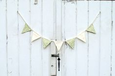 Green and cream damask fabric pennant banner by LifeScooped
