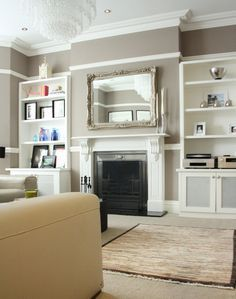 'Beige w/white trim is my favorite combo for home decor'. Inside Scoop: A North London Victorian Family Home by Holly Marder for Houzz Victorian Living Room, Edwardian House, Victorian Homes, Victorian Mirror, Edwardian Style, Victorian Terrace, Contemporary Family Rooms, Contemporary Rugs, Lounge Decor