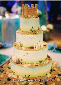 Sandcastle Beach themed wedding cake in a different color