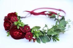 Burgundy flower crownFlower headband headband wedding