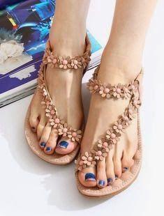ddab98a9ac74ae Buy Women s Fashion Sweet Beaded Flower Clip Toe Flat Bohemian Herringbone  Sandals at Wish - Shopping Made Fun