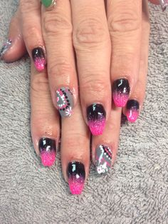 "Light Elegance black, ""Ride The Rails"" and ""Hot Pink"" glitter"