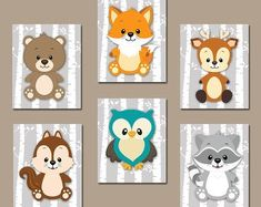 WOODLAND Nursery Wall Art, Woodland Nursery Decor Canvas or Prints Birch Wood Forest Animals, Deer Squirrel OWL Raccoon FOX, Set of 6 - This forest collection encourages your little one to seek adventure and give the kindergarten a pla - Woodland Nursery Prints, Woodland Animal Nursery, Woodland Nursery Decor, Woodland Animals, Woodland Theme, Nursery Canvas, Nursery Wall Art, Fox Nursery, Tribal Nursery
