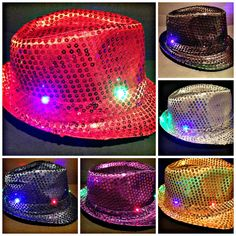 LED FEDORA HAT SEQUIN FLASHING LIGHT UP 6 COLORS AVAIL SEE VIDEO RAVE DISCO +FUN #FedoraTrilby
