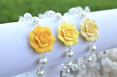 Yellow Rose and Pearls Bracelet Pale Yellow Rose by Diaszabo, $23.00