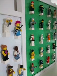 Lego Storage Ideas. Very cool!  Space them enough for 7- and and 4-year old fingers to grab...