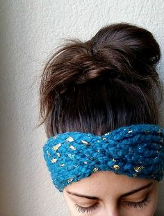 Teal and Gold turban style headband.  Gold leaf interlaced with a bold teal wool blend ear warmer $29.95 from The Snugglery