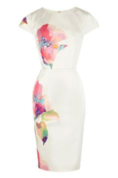 Scoop Collar Floral Print Short Sleeves Slimming Women's Dress