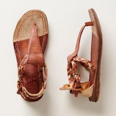 ROSCOE SANDALS -  Braided leather with warm, metallic overtones and subtle texturing with high backs and side buckles.