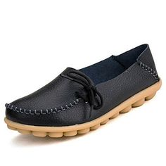 Joansam Women's Driving Shoes Cowhide Leather Lace-Up Loafers Boat Shoes Flats >>> Want to know more, click on the image.