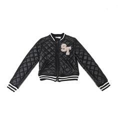 So Twee udsalg børnetøj Sort quilted ecolæder jakke tilbud børnetøj