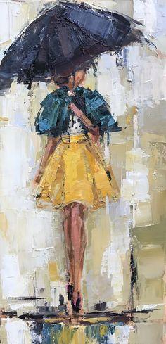 @ktrotterart www.kathryntrotterart.com #kathryntrotterfashionpaintings #fashion #fashionpaintings #umbrellaladies #umbrellas #kathryntrottercommissionart