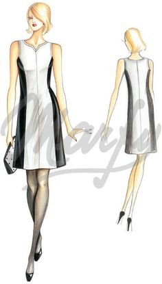 White fabric mt 1 10 alt 1 40 Black fabric mt 1 00 alt 1 40 Available in sizes 42 44 46 Gored A-line dress Suggested fabric two-tone fabric To combine with the jacket 2119