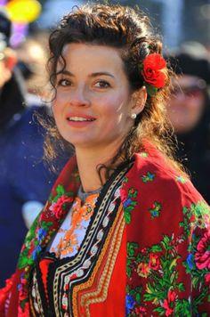 Bulgarian woman in folk clothes