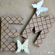 Architecture of a Mom: Butterfly Burlap Letters