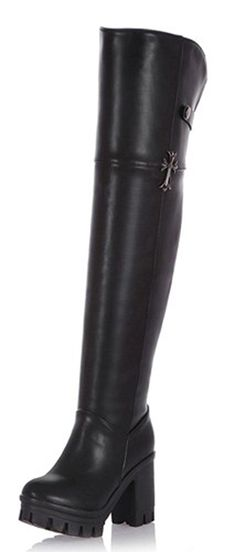 AIsun Womens Fashion Chunky High Heel Over Knee Boots Black 7 BM US ** Find out more about the great product at the image link. Women's Over The Knee Boots, Chunky High Heels, Black 7, Shoe Boots, Shoes, Black Boots, Riding Boots, Style Me, Pairs