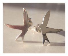 Silver Swallow Studs Silver Bird Studs by TraceyRexJewellery