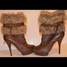 Stiletto heel boots Brown leather, faux fur, worn twice. Bakers Shoes Ankle Boots & Booties