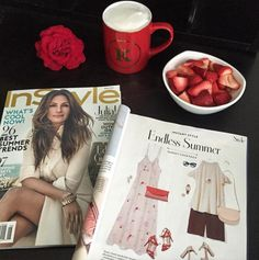 #whatsonmydesk • seeing red! Flipping through the new @instylemagazine and adore this endless summer ensemble featuring @lovecultureofficial red strappy sandals! #kkudos