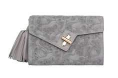 Mini MILCK Clutch Flower Party in grey with gold hardware.  Small, but not too tiny, this fulfills all the basic clutch duties. Meanwhile, the chain strap  gives it the versatility to sling crossbody and worn with a bit of edge.