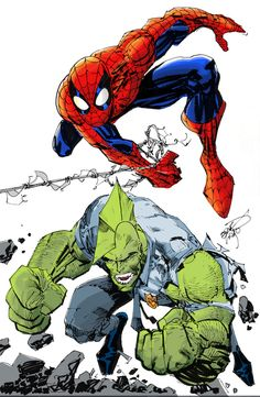 Erik Larsen commission - Spiderman Savage Dragon, Colors by jonashley69