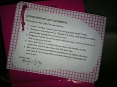 First reconciliation - I like the eraser and lifesaver ideas. Good for class gifts:)