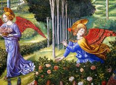 Adoration of the magi, detail: Angel Gathering Flowers in a Heavenly Landscape (detail), 1460 Benozzo Gozzoli