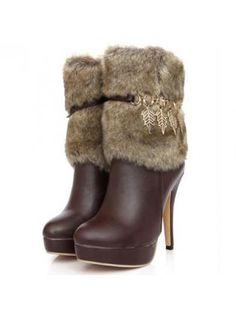 Middle Calf Faux Fur Decoration High Heel Boots Brown