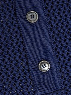 Dark-blue loose-knit polo sweater. Directional and statement making, Gucci take an alternative approach to the classic polo style tee, adding a new dimension to any fashion-savvy man's summer wardrobe.