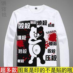 Anime super dangan ronpa Monokuma Cartoon Kawaii T Shirt For Women  100% Cotton O-Neck New Free Shipping