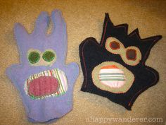 recycled sweater monster puppets...