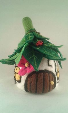 Needle Felted Fairy House, Felt Fairy House, Fairy Cottage. Large OOAK