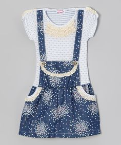 Look at this #zulilyfind! Blue Polka Dot Cluster Jumper Dress - Toddler & Girls by Di Vani #zulilyfinds