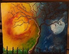 When day meets night,  acrylic painting on canvas by Utah Artist Teresa Quinonez