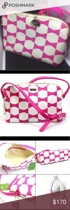 """NWOT Kate Spade Limited Edition Purse Great Condition Never Used Kate Spade Limited Edition Purse  Color: pink, bow tile New York ; style Zipper closure with leather pull Interior slip pocket Yellow gold plated hardware Adjustable 21"""" shoulder / Crossbody strap Measures: 6""""H x 9""""L x 3""""W kate spade Bags Crossbody Bags"""