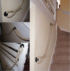 Natural Hemp Rope Stairs Banister (Handrail) with No-Stem Round Blacksmith Brackets Rope Railing, Stair Banister, Banisters, Stairs, Handrail Brackets, Blacksmithing, Hemp, Scale, House Styles
