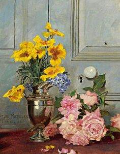 Arturo Michelena Still Life with Pink Roses 1894