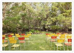 Retro-Chairs - Like the idea but not the color - Spray paint them. Photo Source: Hindsight Bride #weddingchairs #retrochairs