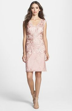 Sue Wong Embroidered Sheath Dress available at #Nordstrom. Pretty patterned dress.