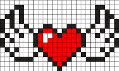 Heart With Wings Perler Bead Pattern / Bead Sprite