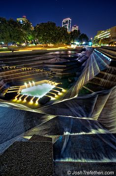 "A must in Fort Worth! Water Gardens, Fort Worth, Texas was in the movie ""Logan's Run"". Oh The Places You'll Go, Cool Places To Visit, Places To Travel, Travel Destinations, Vacation Spots, Dream Vacations, Family Vacations, Cruise Vacation, Logan's Run"