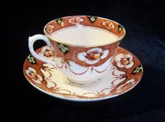 Vintage Royal Albert Crown China Teacup & Saucer - Brown Imari - 4318 - England #RoyalAlbert