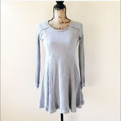 Anthropologie Eloise Gray Waffle Knit Dress Re-poshing. Super cute but a little too casual to wear at my work. Anthropologie Dresses Mini