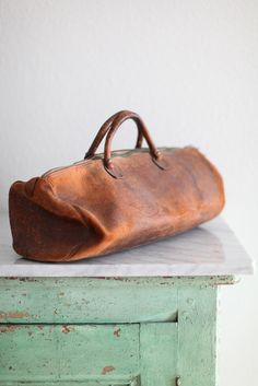 Vintage French leather satchel