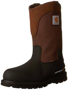 Carhartt Men s Wellington Waterproof Steel Toe Leather Pull-On Work Boot  Brown Black Leather 86a9502e52