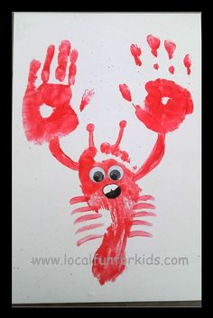 a way cute lobster for summertime kid art...would be cute with addi's foot and Lainey's hands