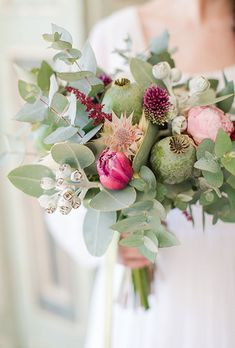 Boho Bouquet with Tulips, Peonies & Greens. A modern bouquet comprised of tulips, peonies, and Australian greenery, created by In Bloom Floral Art.