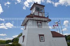 White and red lighthouse structure